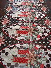 """Christmas Embroidered Laced TABLE Runner Cut Work Poinsettia Candle 34""""*16 5/8"""""""