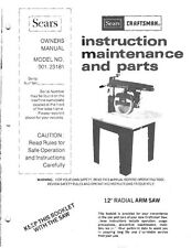 "1983 Craftsman 901.23181  12"" Radial Arm Saw Instructions"