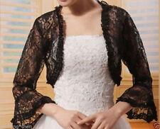 Gothic Black Lace Evening Shrug Bridal Bolero woman Shawl Cape Cloak Long sleeve
