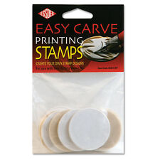 10 LINO EASY CARVE PRINTING STAMPS FOR BURNISHING TOOL 46mm DIAMETER ROUND BLOCK