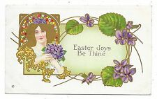 ANTIQUE EASTER POSTCARD PRETTY LADY GOLD HAIR STAINED GLASS VIOLETS FLOWERS 1913