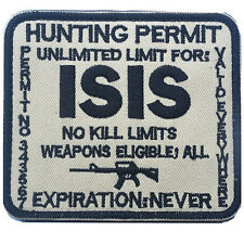 HUNTING PERMIT UNLIMITED LIMIT FOR ISIS 3D MORALE TACTICAL BADGE VELCRO PATCH