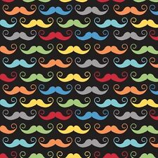 Geekly Chic Black Mustaches by RBD Designers for Riley Blake, 1/2 yard