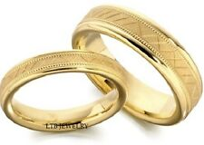 10K YELLOW GOLD MATCHING WEDDING BANDS SET HIS & HERS MENS WOMENS RING