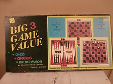 Vintage NEW 3 in 1 Game Set- Chess Checkers & Backgammon NOS INSTRUCTIONS