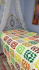 Vintage Crochet Bedspread, 70's Afghan, Queen Size, Granny Squares