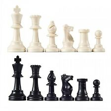 "Heavy Tournament Triple Weighted Chess Pieces with 3 3/4"" King, New"