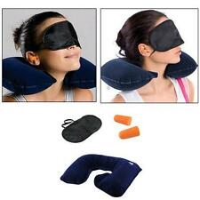 3 in 1 Travel Set-Air Neck Pillow Cushion Car-EYE MASK Sleep Rest Shade-Ear Plug