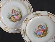 Antique Early 1800s Old Paris French Porcelain Pair of Romance Portrait Plates
