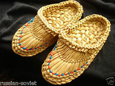 RUSSIAN LAPTI CHILDREN SLIPPERS MULES STRAW ORGANIC LIFE ECOLOGICAL SIZE 6 7