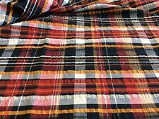 BLACK,BURGUNDY,BROWN & WHITE PLAID-COTTON- 1 1/4 YARDS
