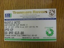 27/10/1998 Ticket: Tranmere Rovers v Newcastle United [Football League Cup] (fol