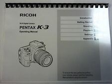 PENTAX K-3 PRINTED INSTRUCTION MANUAL USER GUIDE 114 PAGES A5