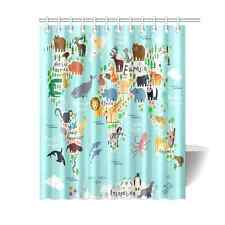 Animal Map of the World for Children and Kids Fabric Shower Curtain 60x72 Inch