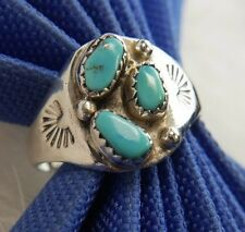 "Vintage Men's 5/8"" Turquoise Handcrafted 0.925 Sterling Silver Estate Ring Sz 12"
