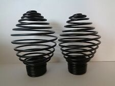 Pair Of Black Swirl Spiral Cage Finials Ends For 28mm Curtain Pole