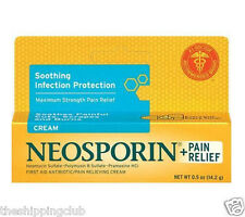 1 x NEOSPORIN + PAIN RELIEF Cream .5oz Bacitracin Antibiotic Skin First Aid