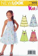 NEW LOOK SEWING PATTERN 6204 GIRLS SZ 3-8 FLARED DRESS - STRAPS OR HALTER NECK