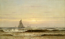 Oil painting seascape with sail boats ocean waves and sea birds in sunrise