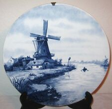 Antique Delft Blue Wall Plaque Plate F. du Chattel Windmills Huts Boat River