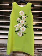 EEUC Dolce And Gabbana Lime Green Crepe Wool Daisy Dress Girl 6 $750