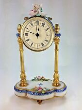 Lovely Capodimonte Italy Porcelain and Brass Mantle Floral Clock