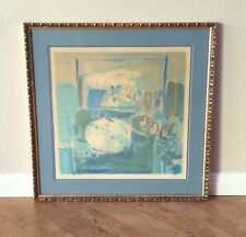 Pierre Lesieur Signed Numbered Lithograph in Blue, 1971 French Modernism Listed