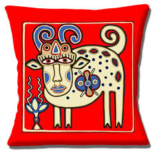 "Ukrainien ethnique tribal folk art animal red brown shades 16"" oreiller housse de coussin"