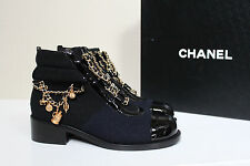 NEW CHANEL Leather Black & Navy Wool Charm Gold Chain Short Boots Sz 39,5  $1750