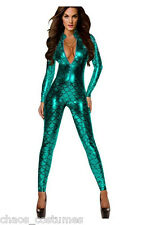 AQUA MAN FISH SCALE SUPER HERO ALIEN ZIP UP BODY SUIT WOMENS HALLOWEEN COSTUME