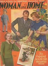 30s Woman and Home Magazine December 1938 Knitting Patterns Fashion Recipes