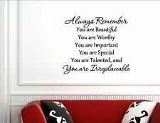 Always remember you are beautiful, you - Vinyl wall decals quotes sayings #731