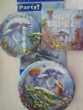 Lot 4 Happy Birthday Dolphin Sea Ocean Table Cloth Plates Napkins Party Supplies