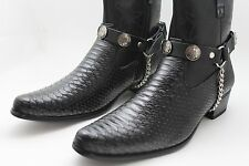 Men Indian Metal Silver Chains Fashion Western Shoe Boot Black Straps Motorcycle