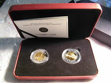 CANADA 2005 RARE CHINESE RAILWAY WORKERS MINT SET 2X$8 GOLD PLATED SILVER COINS