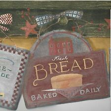 Country Fresh Baked Bread, Apple Pie & Ice Cream Signs - Wallpaper Border A293