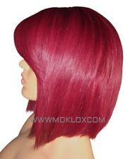 "Glueless Remy Parrucca Di Capelli Umani Completo in Pizzo 10"" Bob Rosso Bordeaux Bug Frangia Bangs UK"
