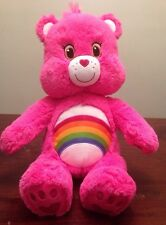 "18"" Build a Bear Care Bears Cheer Bear Plush Pink Rainbow Large"