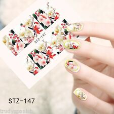 Nail Art Water Decals Wraps Oriental Japanese Flowers Floral Gel Polish (147)