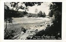 """""""Fishing On French River"""" North Bay, ON Canada RPPC"""