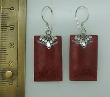 a Red Coral Earrings Handcrafted Dangle in 925 Sterling Silver