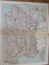 Antique couleur c1904 carte de l'est de la france de Harmsworth atlas