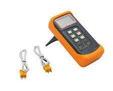 Dual Channel Digital Thermometer W 2 K-Type Thermocouple Sensor Probe Orange New