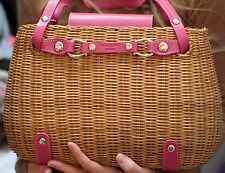 """Kate Spade SNAKE CHARMER BASKET """"CHERRY VALLEY"""" PINK LEATHER WICKER STRAW BAG"""