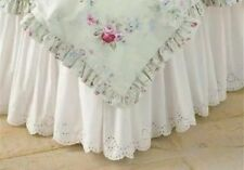 Simply Shabby Chic White Eyelet lace Scallop Queen Ruffled Bedskirt dust ruffle