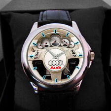 New Audi Car Logo Nascar Rally White Steering leather man N woman Sport Watch