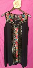 JWLA s small black RINA YOKE TANK LONG TUNIC DRESS mexican Johnny Was nwt new