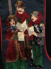 VICTORIAN CAROLERS Christmas STOCKING Wool Needlepoint with Gold Thread