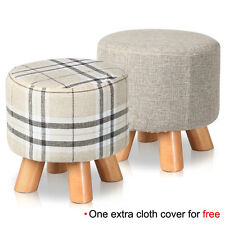 Fabric Round Upholstered Footstool with Extra Free Changable Cover Drum Stools