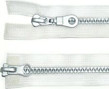 """ZIP CLEAR 19""""/48CM, CHUNKY SILVER PLASTIC TEETH, TWO WAY OPEN END, NUMB 5"""
